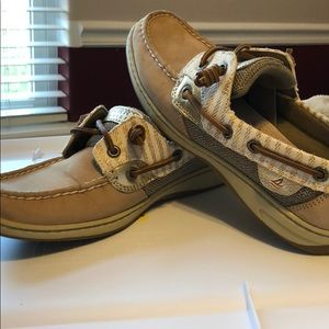 Sperry Top-Slider size 6.5 gold accents